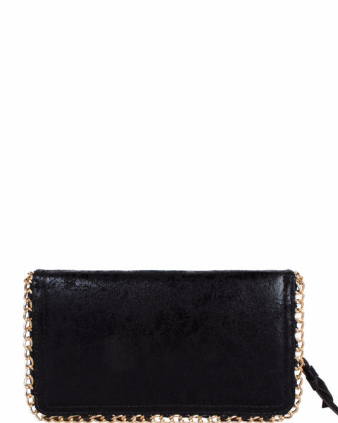 Faux Leather Chain Trimmed Clutch - Jezzelle