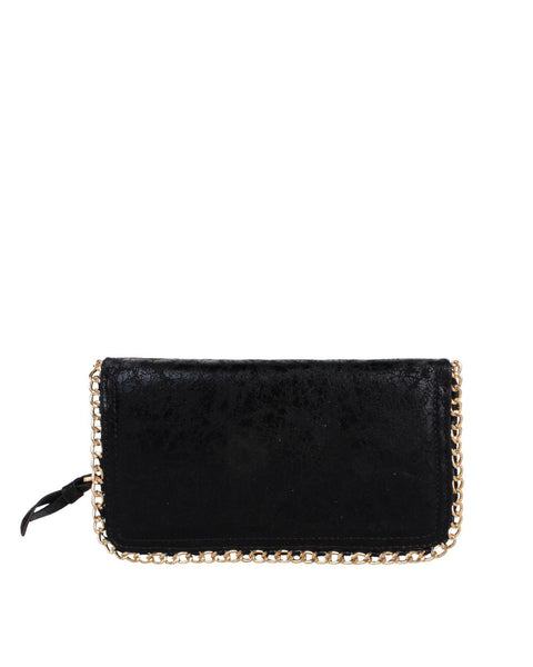 Faux Leather Chain Trimmed Clutch-Jezzelle