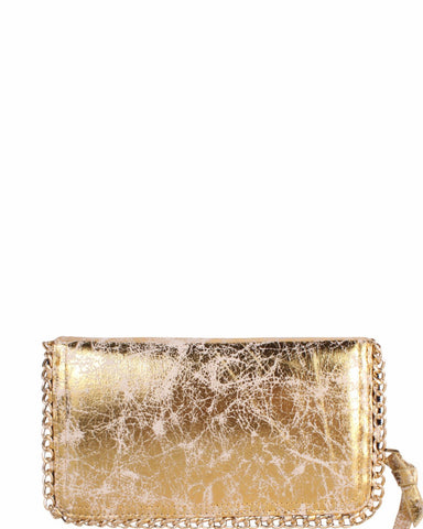 Gold Cracked Leather Effect Chain Trimmed Clutch