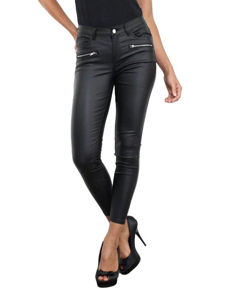 Double Zip Faux Leather Trousers-Jezzelle