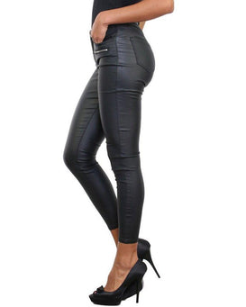 Double Zip Faux Leather Trousers - Jezzelle