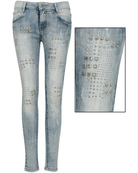 Studs Details Washed Jeans-Jezzelle
