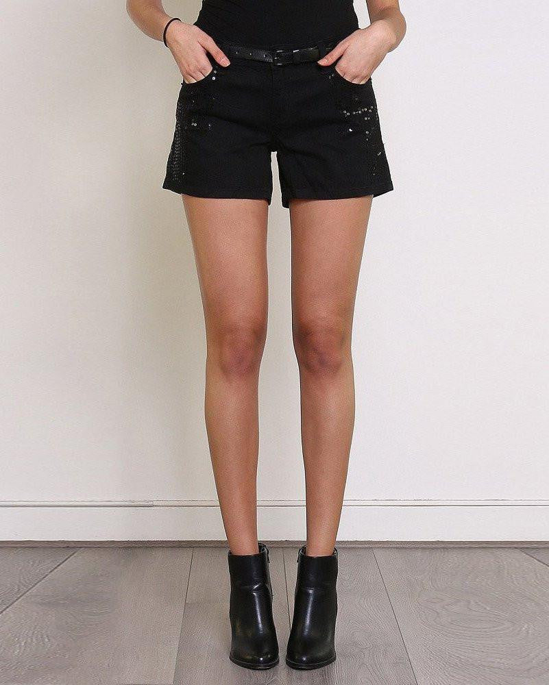 Sequinned Belted Smart Shorts-Jezzelle