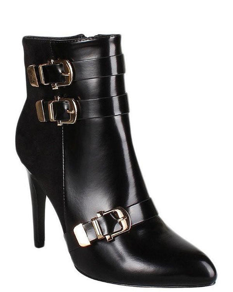 Buckle Detailed High Heel Ankle Boots-Jezzelle