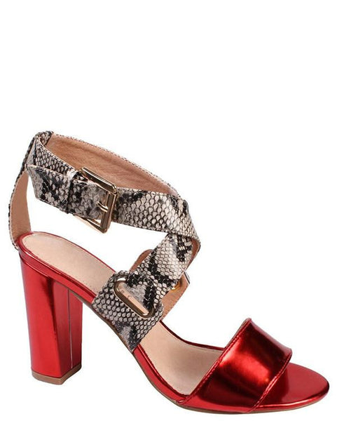 Snake Print Wedge Heel Sandals - Jezzelle