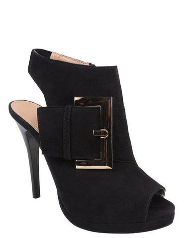 Large Buckle Peep-toe Ankle boots-Jezzelle