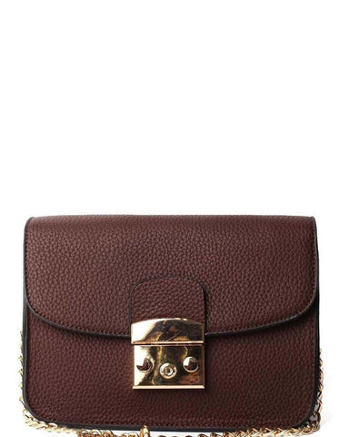 Textured Brown Mini Shoulder Bag - Jezzelle