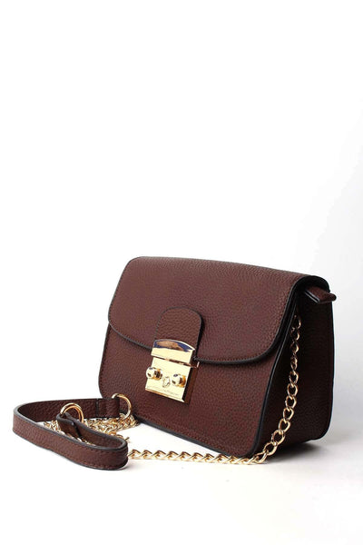 Textured Brown Mini Shoulder Bag - jezzelle  - 2
