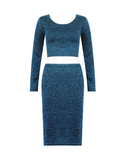 Turquoise Knitted Crop Co-ord Set - Jezzelle