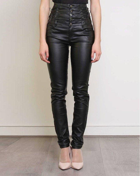 High Waisted Faux Leather Trousers-Jezzelle