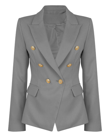 Double Breasted Grey Blazer - Jezzelle