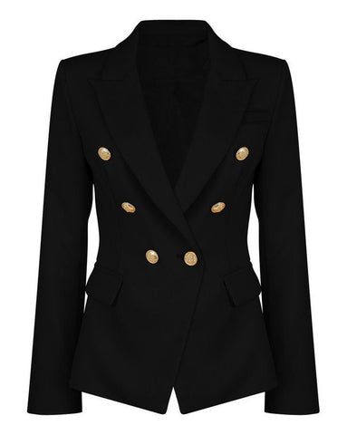 Double Breasted Black Blazer-Jezzelle