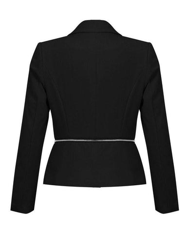 Round Zip Detail Single Button Blazer-Jezzelle