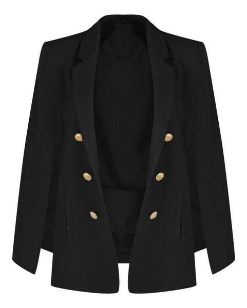Tailored Buttoned Cape Blazer - Jezzelle