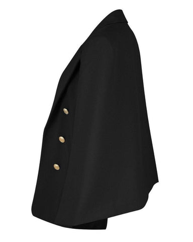 Tailored Buttoned Cape Blazer-Jezzelle