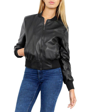 Faux Leather Bomber Jacket - Jezzelle