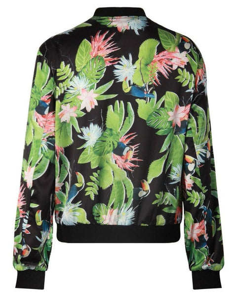 Floral Printed Thin Bomber Jacket-Jezzelle