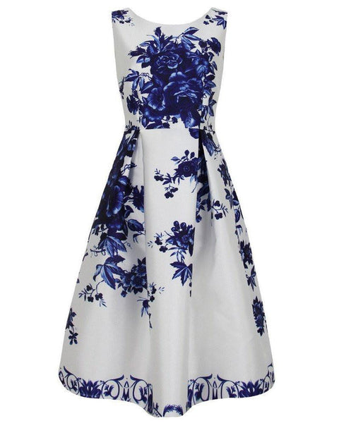 Blue and White Print Prom Dress - Jezzelle
