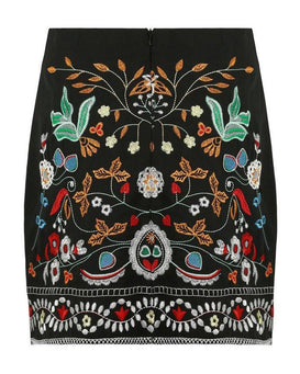 Embroidered Black Mini Skirt-Jezzelle