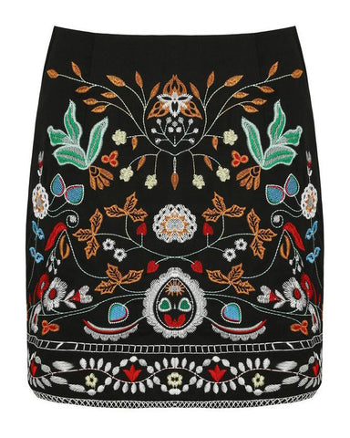 Embroidered Black Mini Skirt - Jezzelle