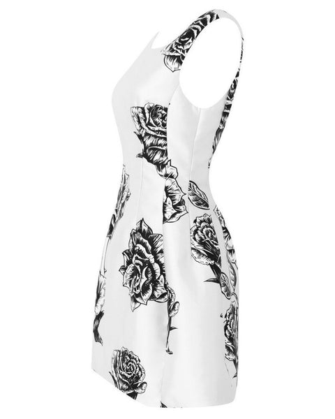 Black & White Floral Prom Dress - Jezzelle