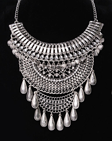 Teardrop Fringe Boho Statement Necklace-Jezzelle