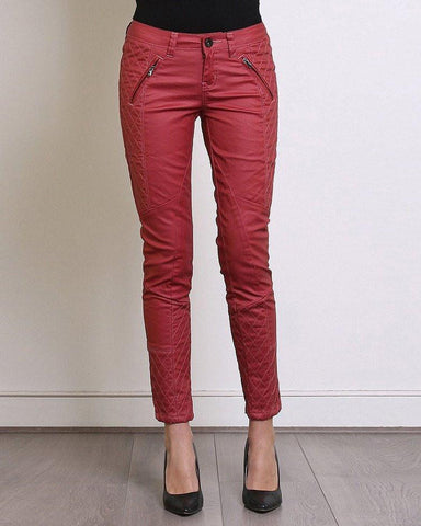 Quilted Burgundy Moto Jeans - Jezzelle