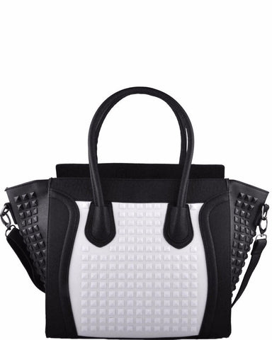 STUDDED LEATHER LOOK BLACK AND WHITE TOTE HANDBAG-Jezzelle