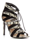 Snake Print Lace Up Sandals-Jezzelle