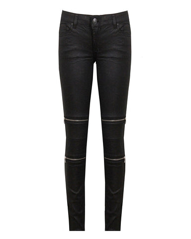 Wax Finish Zip Up Details Jeans - Jezzelle