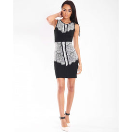 Contrast Lace Panel Bodycon Dress-Jezzelle