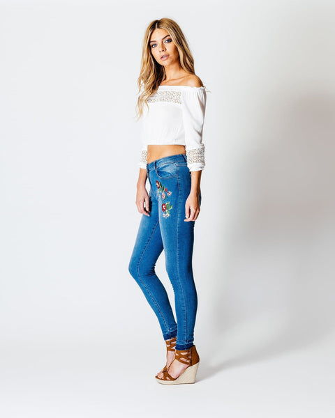 Embroidered Floral Detail Skinny Jeans - jezzelle  - 5