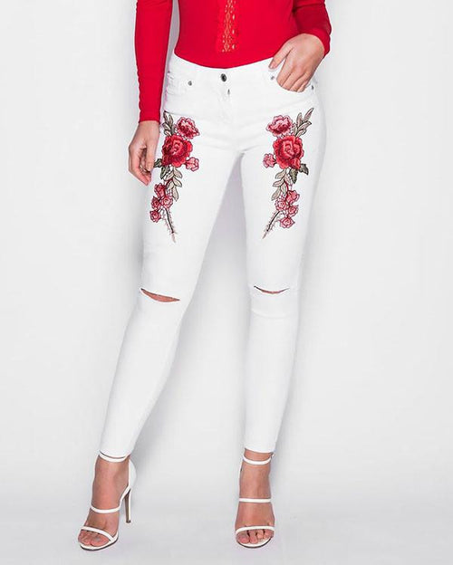 Embroidered White Skinny Jeans - Jezzelle