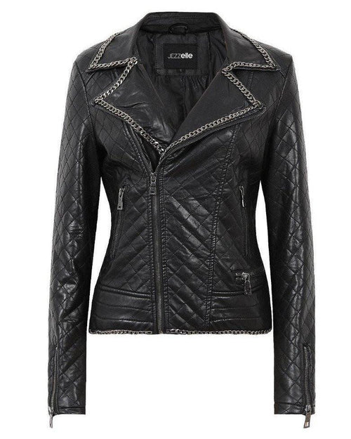 Chain Detail Quilted Biker Jacket-Jezzelle