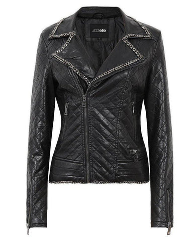 Chain Detail Quilted Biker Jacket - Jezzelle
