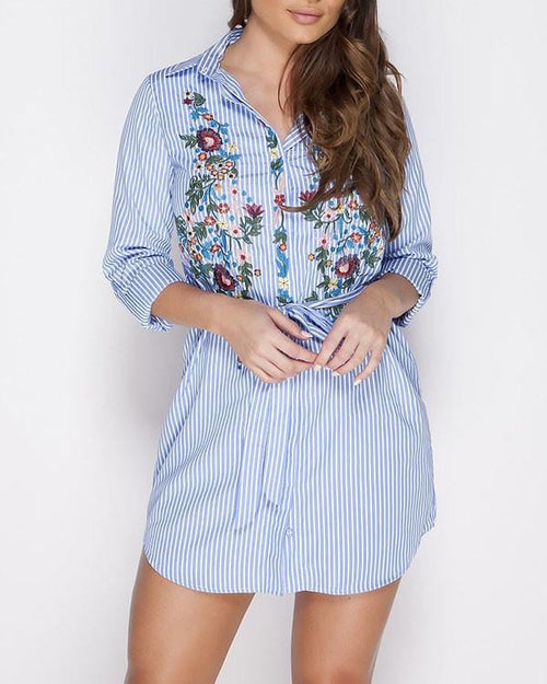 Floral Embroidered Stripy Shirt Dress-Jezzelle