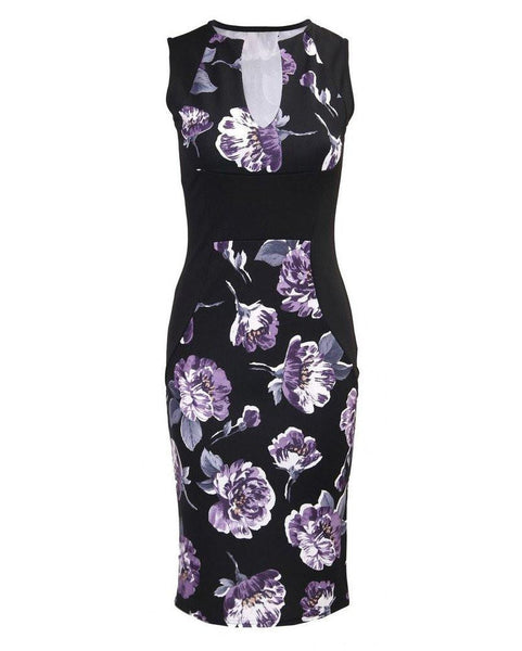 Floral Print V Neck Bodycon Midi Dress - Jezzelle