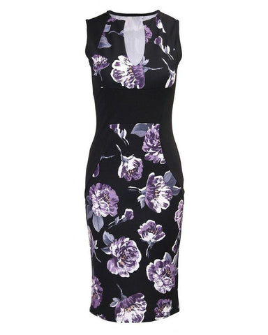 Floral Print V Neck Bodycon Midi Dress-Jezzelle