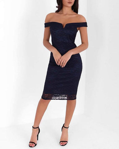Bardot Lace Overlay Midi Dress - Jezzelle