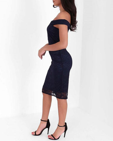 Bardot Lace Overlay Midi Dress-Jezzelle