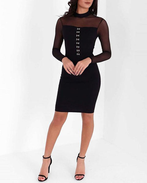Corset Bodice Mesh Sleeve Midi Dress - Jezzelle