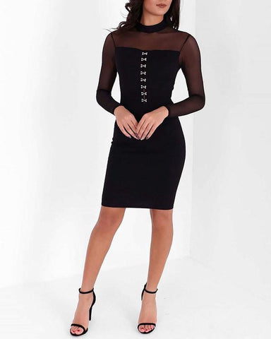 Corset Bodice Mesh Sleeve Midi Dress-Jezzelle