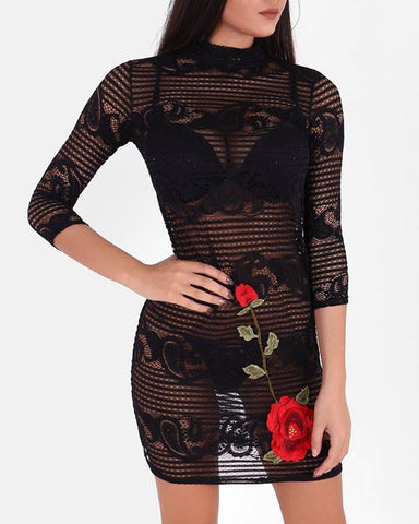 Rose Appliqué Sheer Lace Dress-Jezzelle