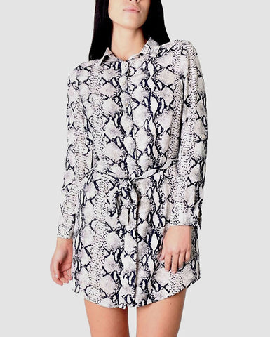 Snake Print Waist Tie Shirt Dress - Jezzelle