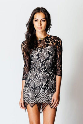 3/4 Sleeve Lace Bodycon Mini Dress - jezzelle  - 6