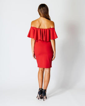Bardot Off The Shoulder Frill Dress - Jezzelle