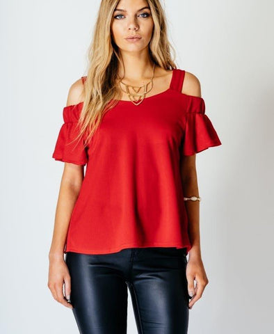 Bardot Off The Shoulder Strap Top-Jezzelle
