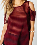 Cold Shoulder Dip Hem Top - Jezzelle