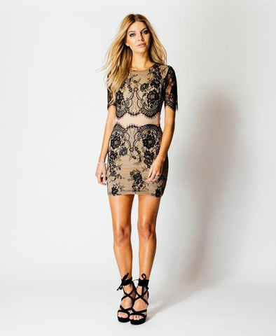Contrast Short Sleeve Lace Bodycon Mini Dress - Jezzelle