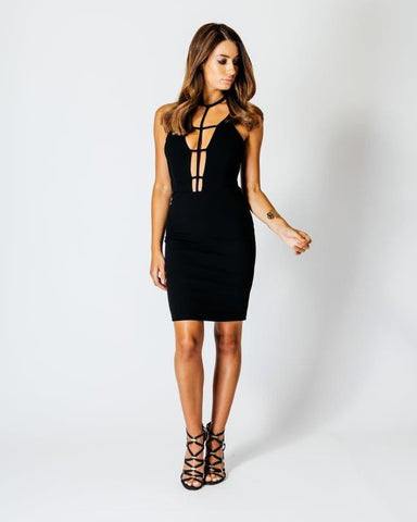 Deep Plunge Harness Detail Neckline Bodycon Dress - Jezzelle